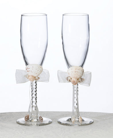 Seaside Ivory Wedding Toasting Glasses