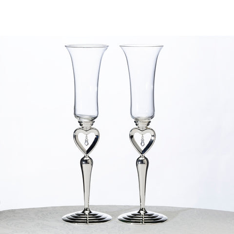 dangling jewel wedding toasting glasses