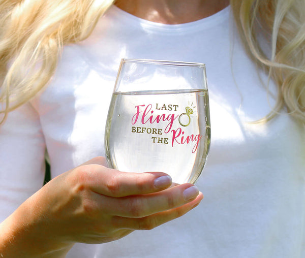 Last Fling Before the Ring Stemless Wine Glass