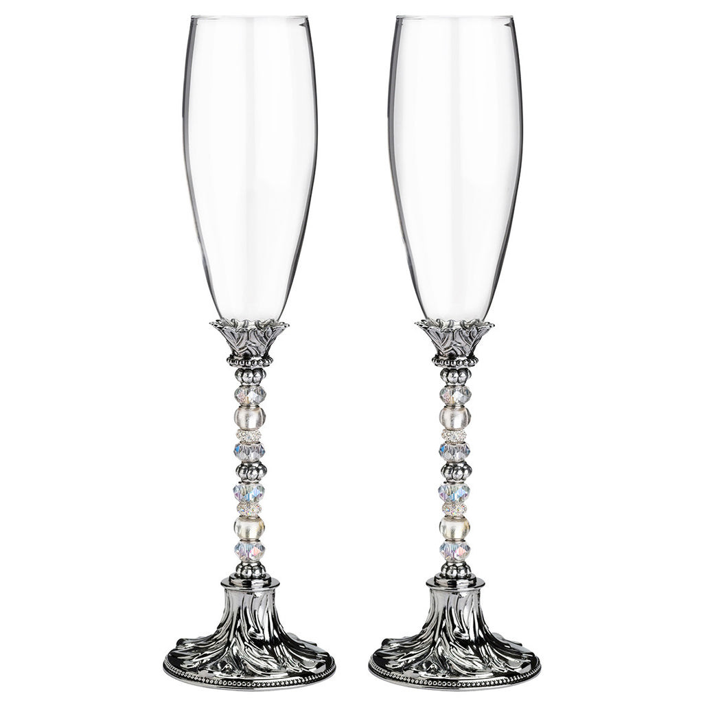Silver Beaded Wedding Toasting Glasses