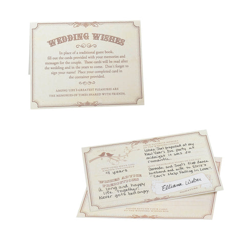 Wedding Wishes Cards - Set of 48 (Tan)