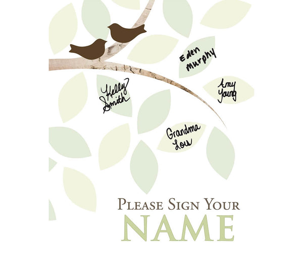 Guest Signing Tree Canvas with Heart Monogram Personalization