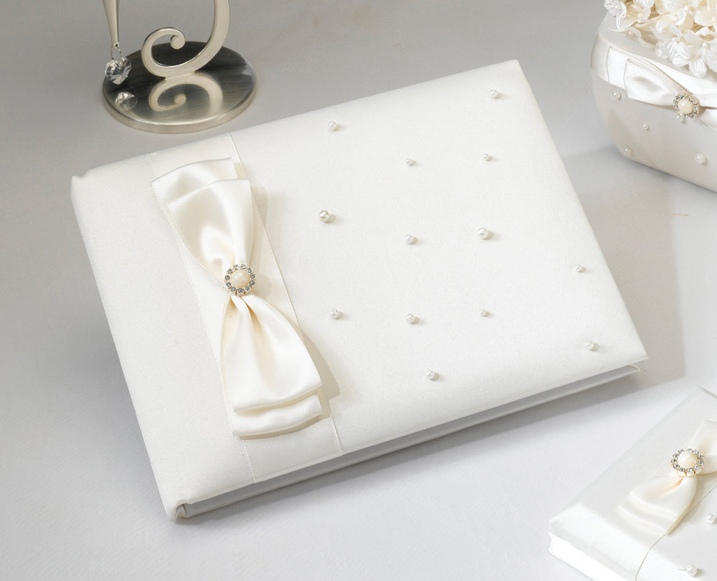 Ivory Scattered Pearl Wedding Guest Book