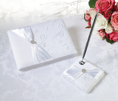 White Lace Wedding Guest Book & Pen Set