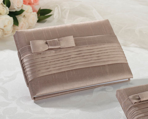 Taupe Pleated Silk Wedding Guest Book