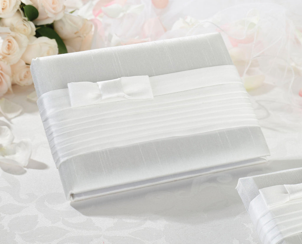 White Pleated Silk Wedding Guest Book