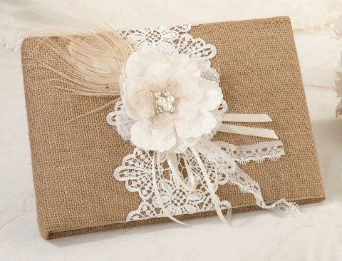 Burlap & Lace Wedding Guest Book