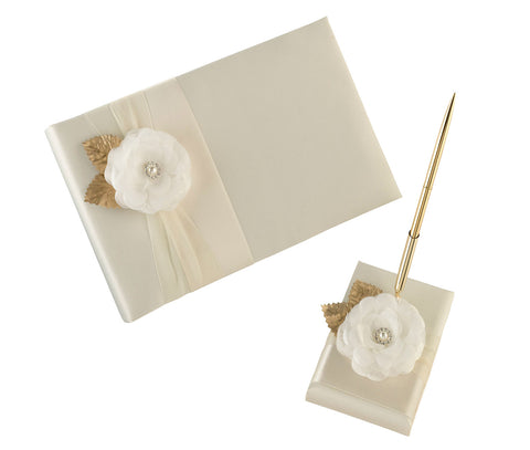 Cream Rose Guest Book & Pen Set