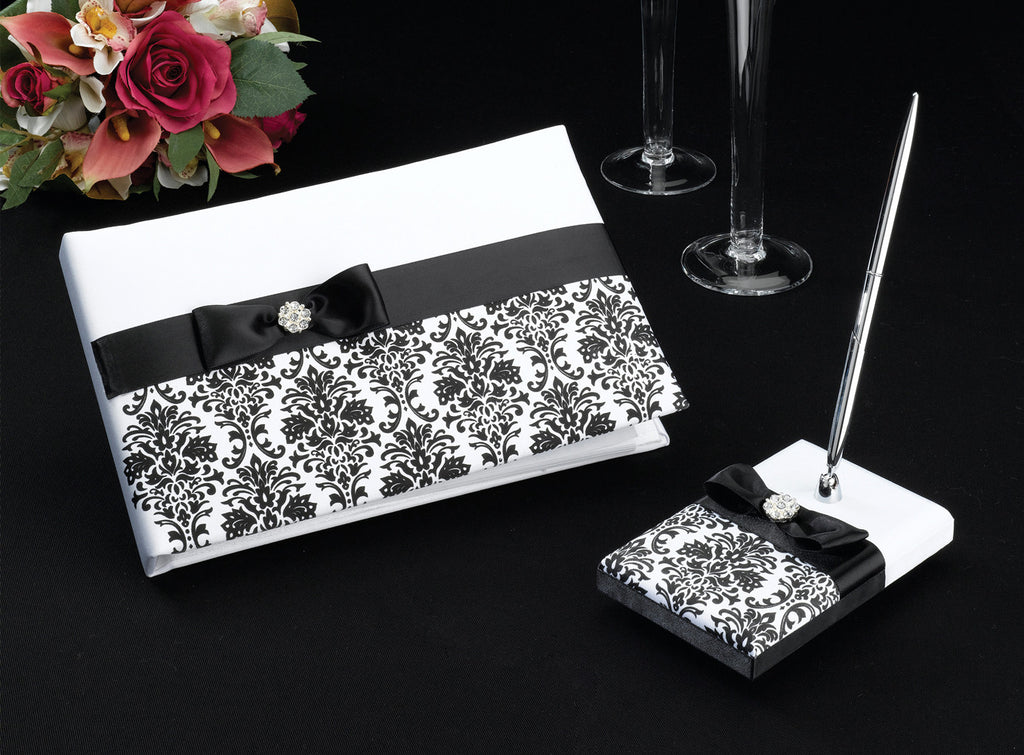 Black Damask Wedding Guest Book & Pen Set