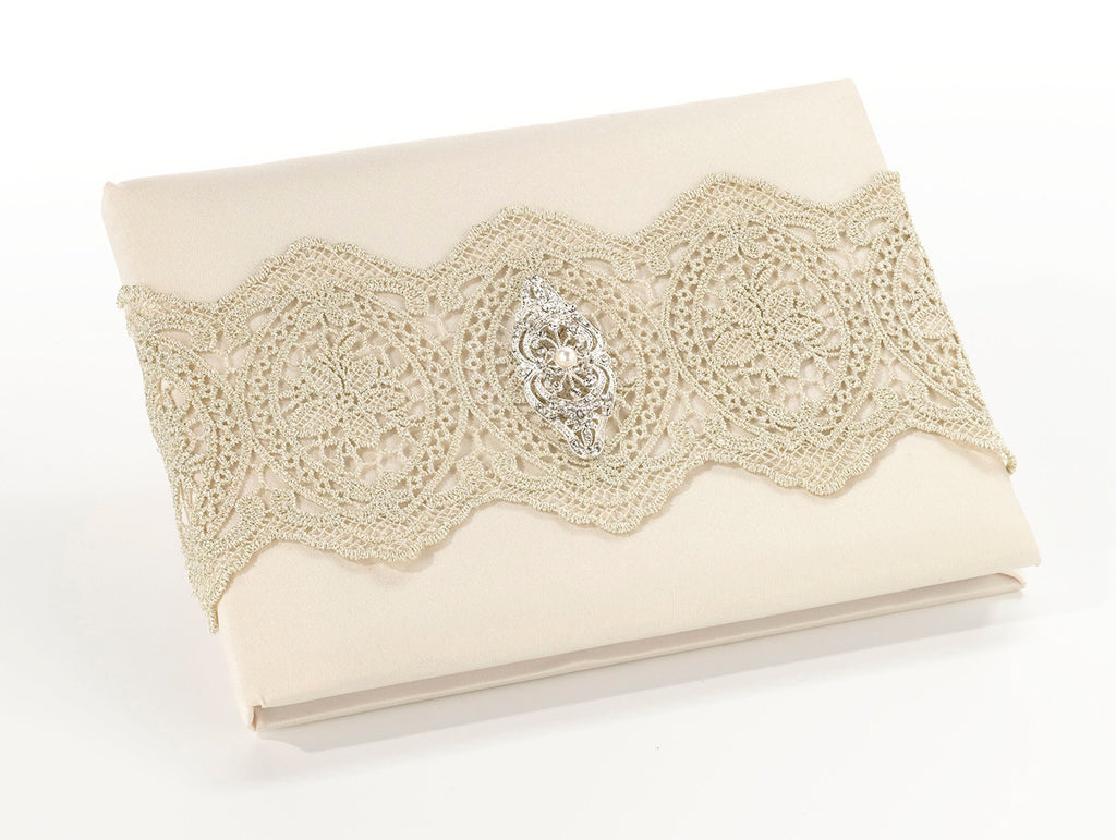 Gold Lace Wedding Guest Book