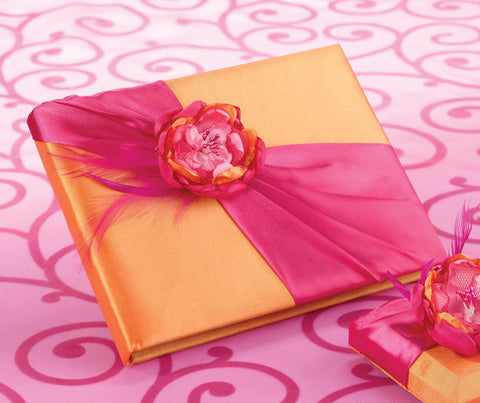Hot Pink & Orange Wedding Guest Book