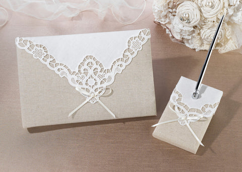 Country Lace Wedding Guest Book & Pen Set
