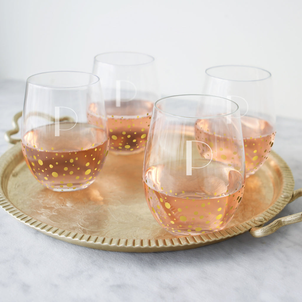 Gold Dot Stemless Wine Glasses (Set of 4)