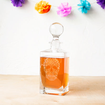 Sugar Skull 32 oz. Square Whiskey Decanter