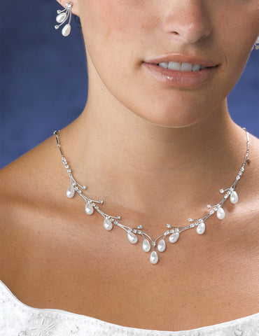 Pearl Drop Necklace & Earrings Set