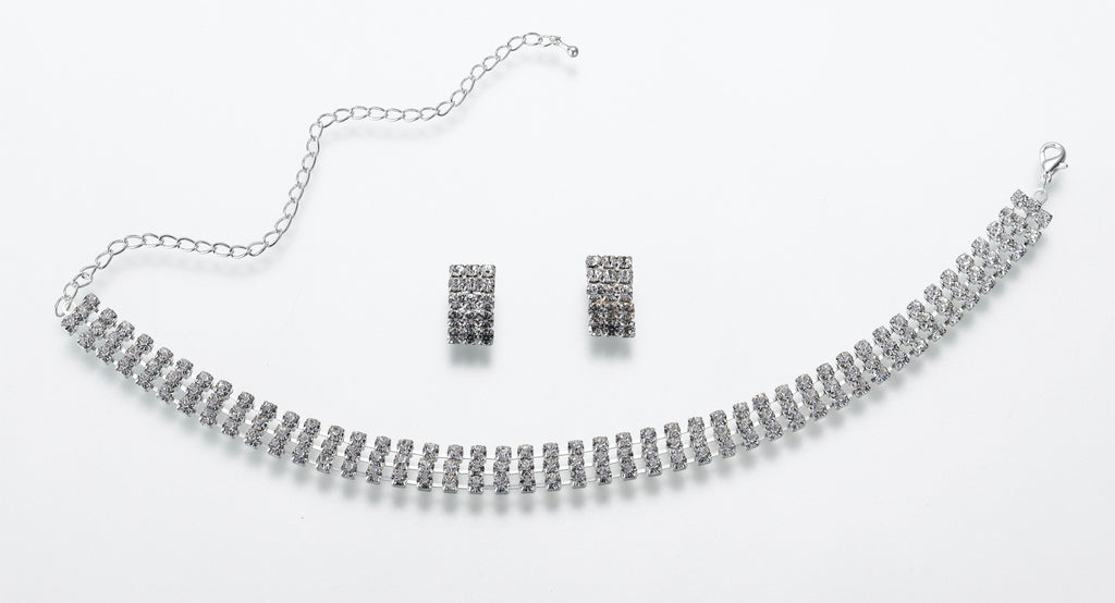 Rhinestone Band Necklace & Earring Set