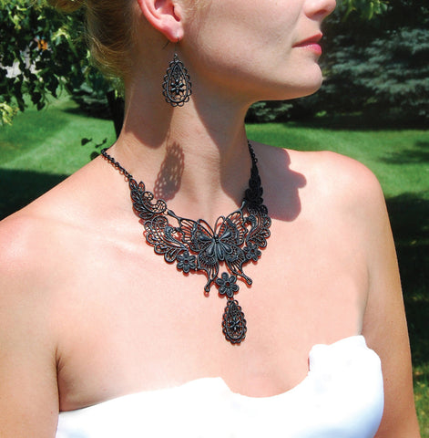 Butterfly Jewelry Set - Black or Silver