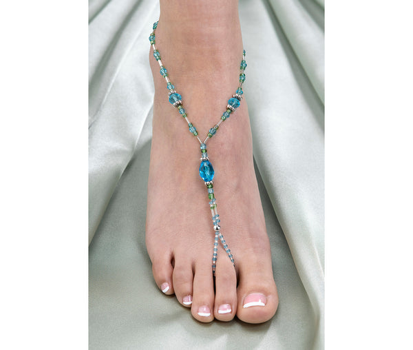 Set of 2 Bead Foot Jewelry - Aqua