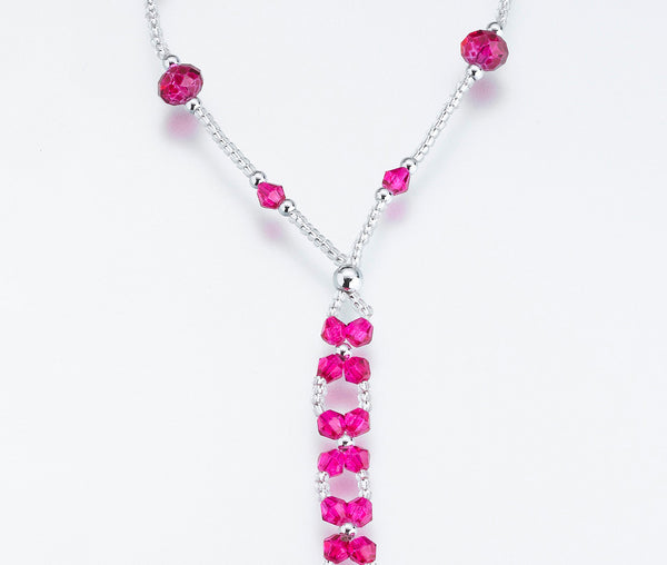 Set of 2 Bead Foot Jewelry - Hot pink