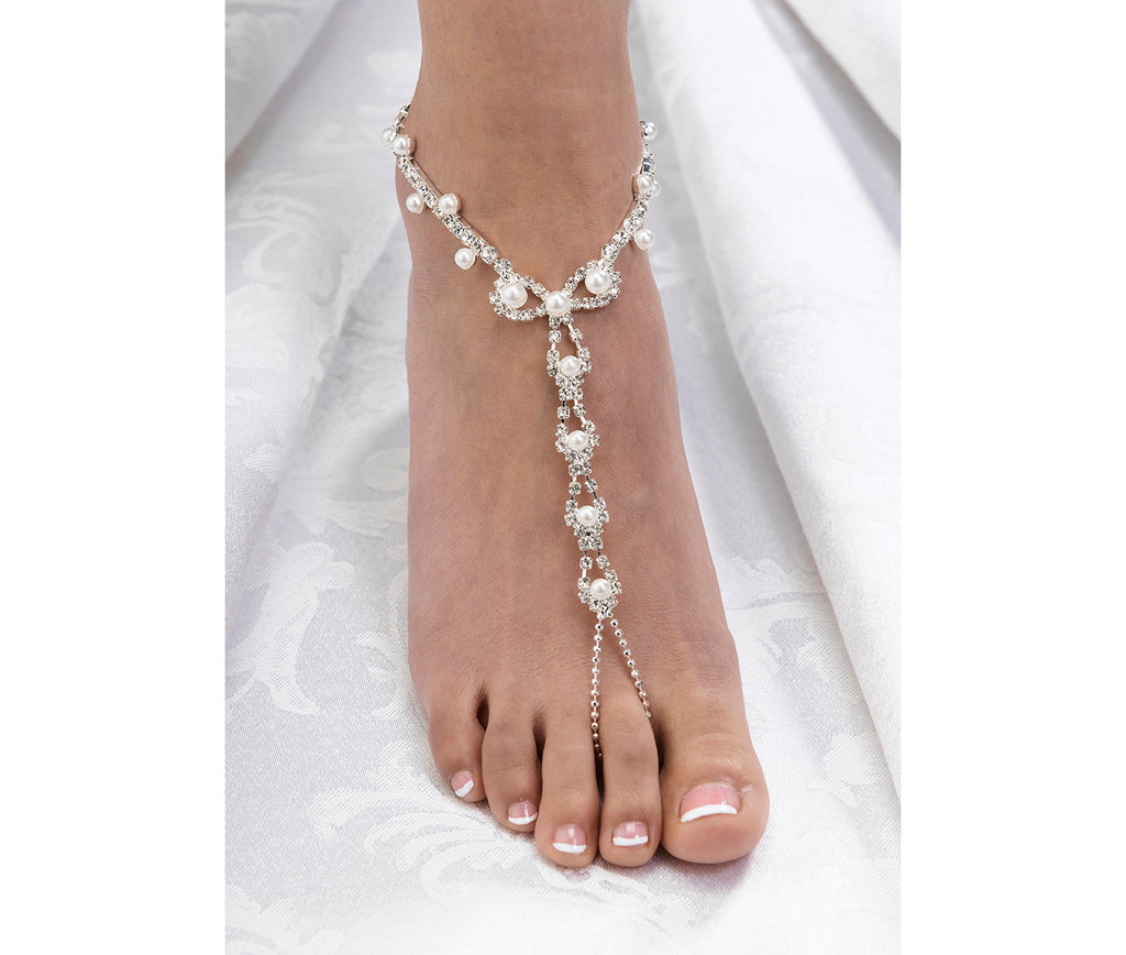 Set of 2 Pearl and Rhinestone Foot Jewelry