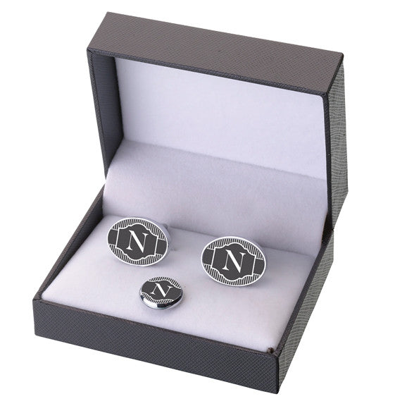 Cufflinks/Tie Tack Black Band - Monogram