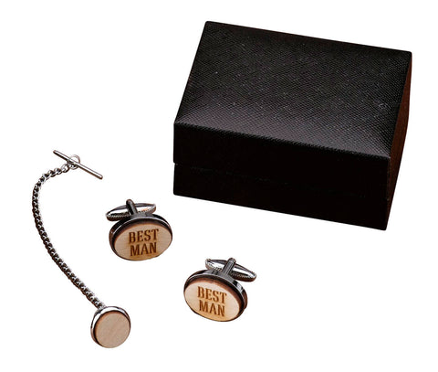 Best Man Wood Cufflinks & Tie Tack Set