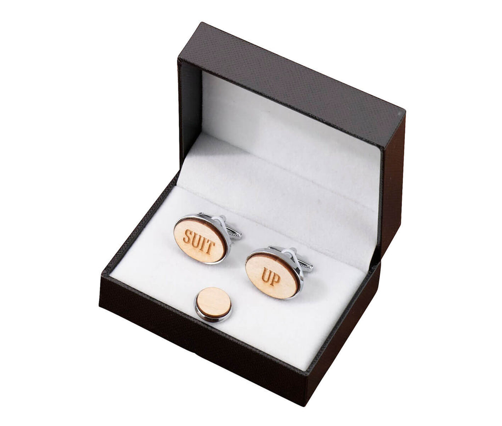 Suit Up Wood Cufflinks & Tie Tack Set
