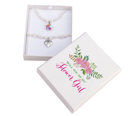 Flower Girl Necklace & Bracelet Set
