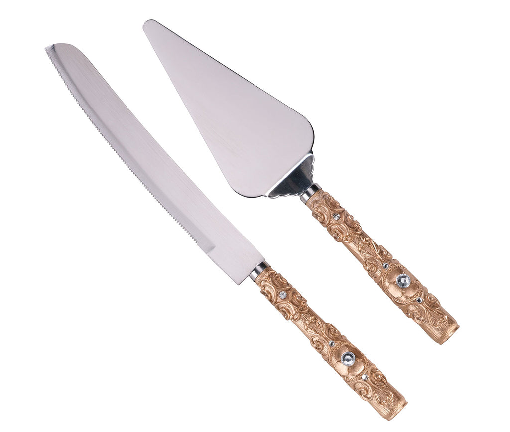 Gold Knife & Server Set