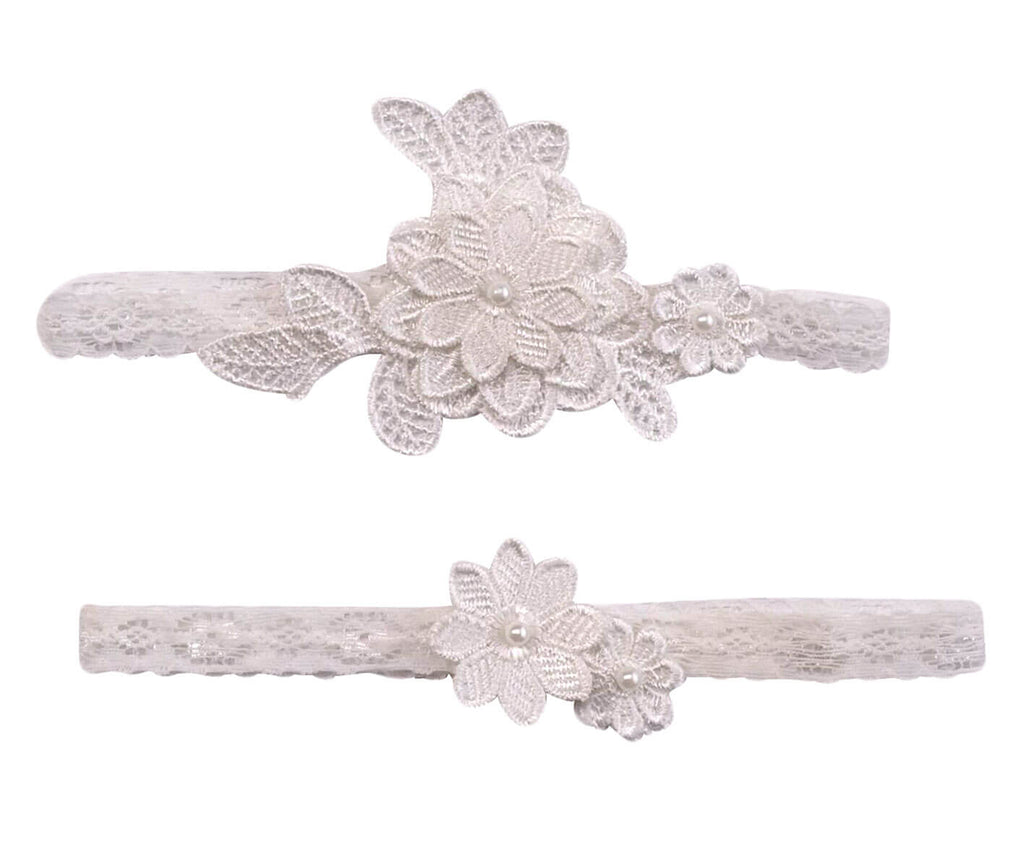 Off-White Flower Garter Set