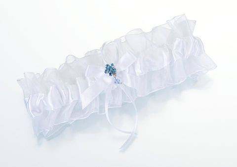 Something Blue Wedding Garter - White
