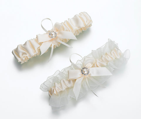 Ivory Pearl Wedding Garter Set