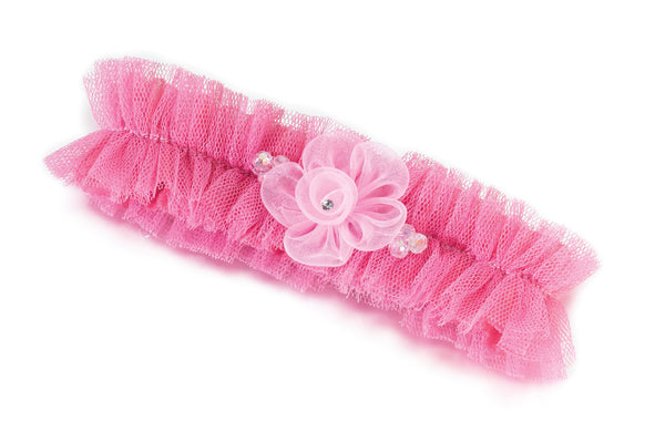 Tulle Wedding Garter with Flower - Pink or Plum