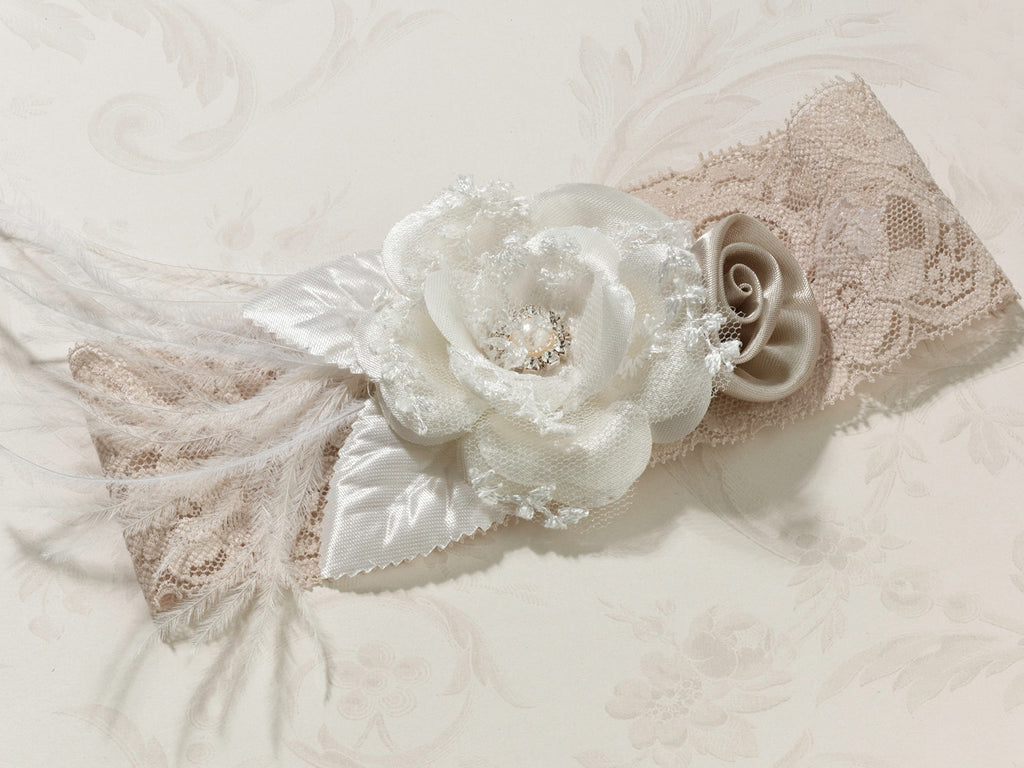 Vintage Wide Garter - Taupe or White