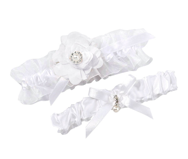 Chiffon Flower Satin Garter Set - White or Ivory