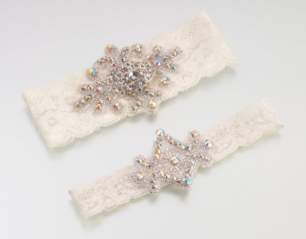 Jeweled Garter Set - White or Ivory