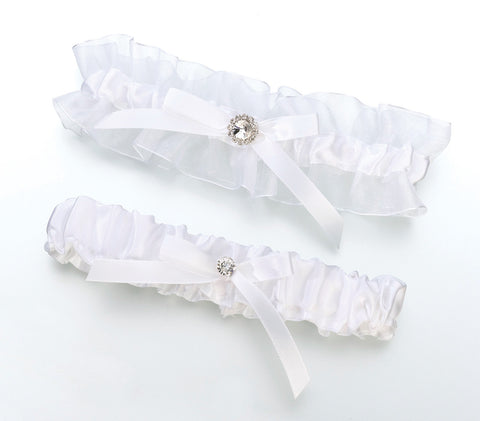 Satin Rhinestone Wedding Garter Set