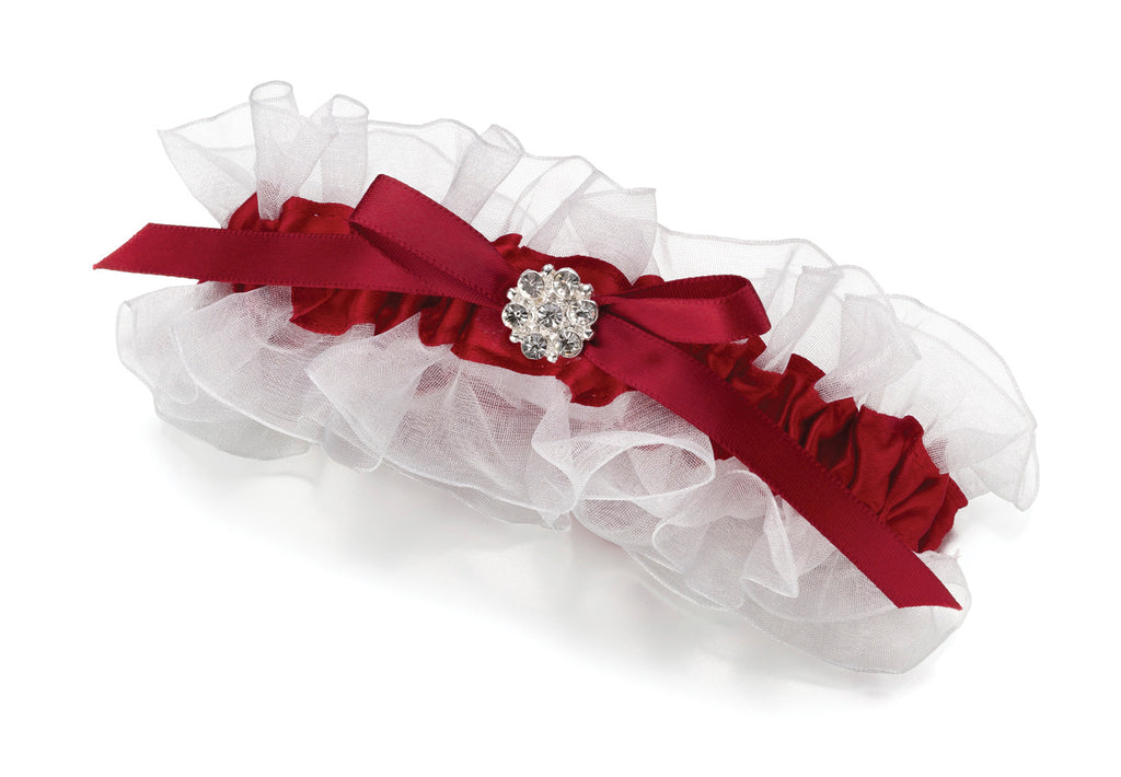 Red Satin Wedding Garter with Rhinestone