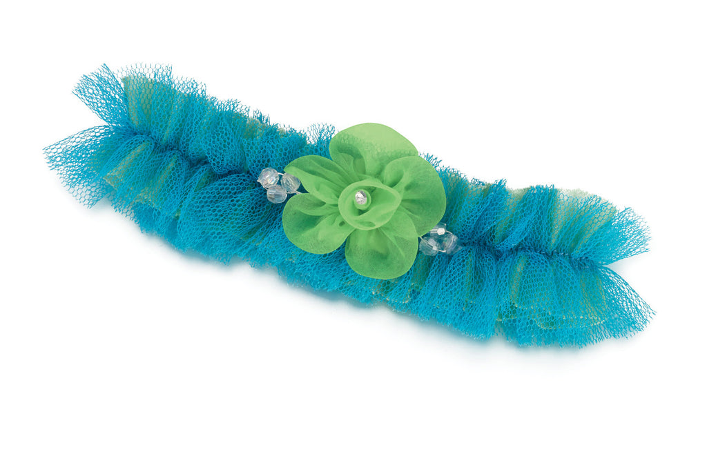 Beautiful Blue & Green Tulle Wedding Garter