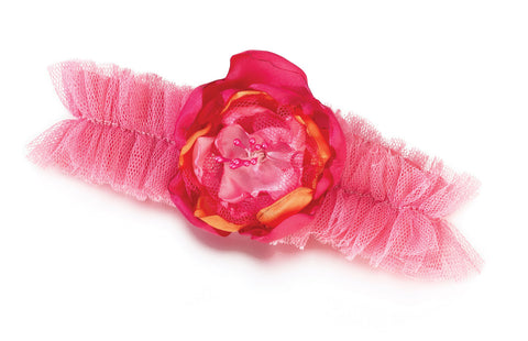Hot Pink & Orange Tulle Wedding Garter