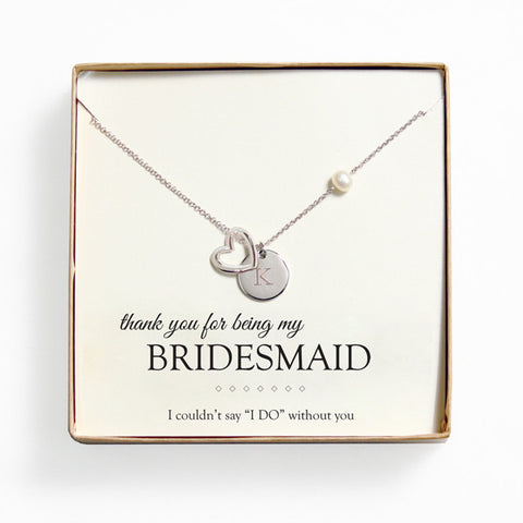 bridesmaid gift - open heart charm necklace