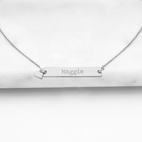 personalized bridesmaid gift - vertical bar necklace