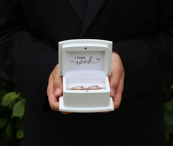 "White Ring Box ring pillow alternative ""With These Ring, I Thee Wed"""