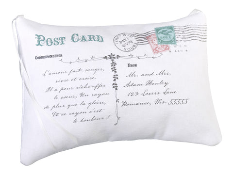 Personalized Post Card Ring Pillow