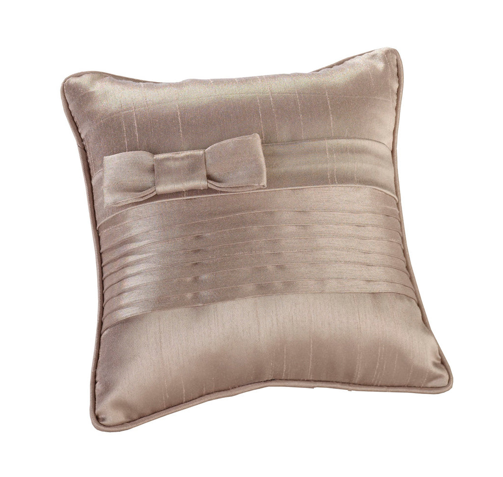 Taupe Pleated Silk Ring Pillow