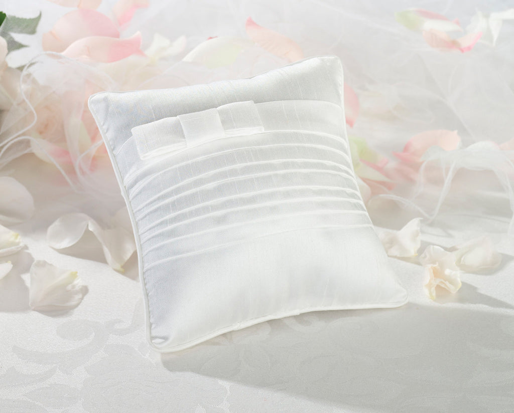White Pleated Silk Ring Pillow