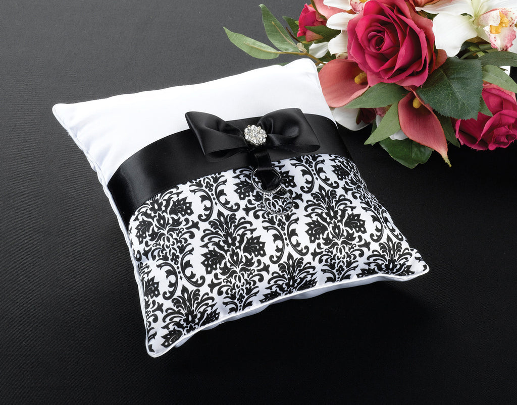 Black Damask Wedding Ring Pillow