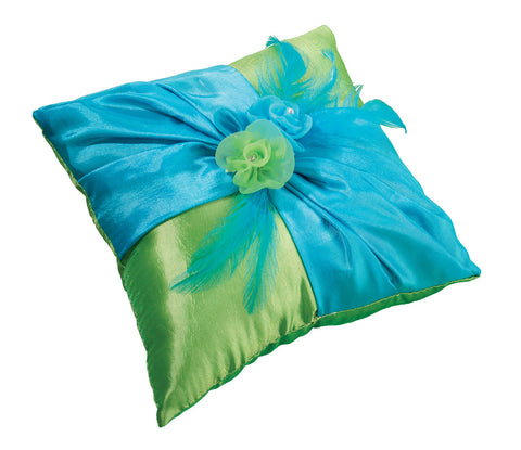 Beautiful Blue & Green Ring Pillow