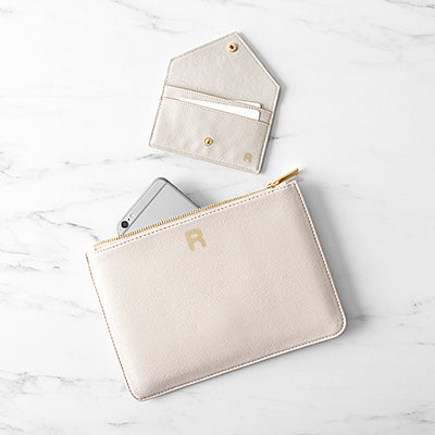 Vegan Leather Clutch and Envelope Wallet Set