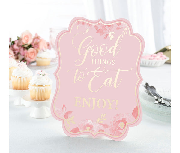 Pink & Gold Bridal Shower Signs - Set of 5